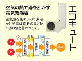 空気の熱で湯を沸かす電気給湯器エコキュート